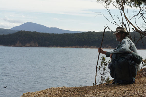 John Blay rests at Twofold Bay, the end of the Bundian Way
